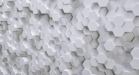 미래의 흰색 육각형 배경, 3D Photorealistic 스톡 콘텐츠