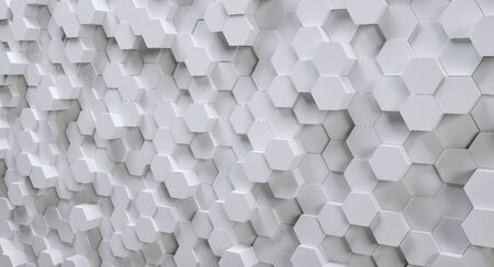 futuristische witte zeshoekige achtergrond, 3D fotorealistisch