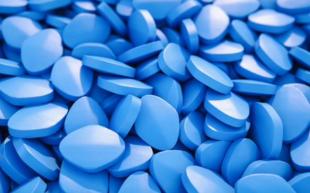 Heap of blue viagra pills for erection dysfunction - 3D rendering illustration 스톡 콘텐츠