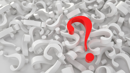 big red question mark on heap of question mark, FAQ concept image - 3D rendering