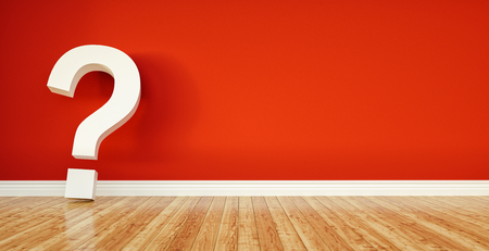 question mark leaning on red wall, FAQ concept image - 3D Rendering Illustration