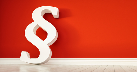 Paragraph symbol on wall - law concept image - 3D rendering illustration Stock Photo