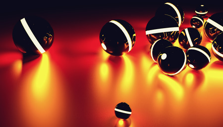 Glowing sphere balls in a random position with light effect, including copy space - futuristic background - 3D rendering Stock Photo