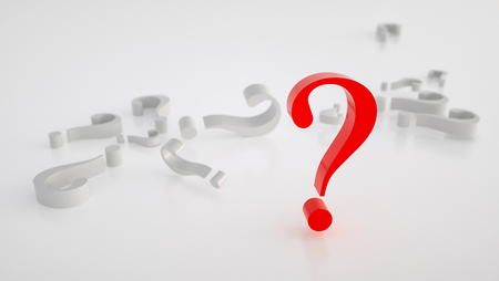 big red question mark, questionnaire concept image - 3D rendering