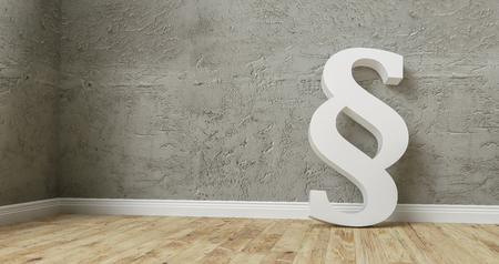 Paragraph smybol against a concrete wall - law and justice concept image - 3D rendering