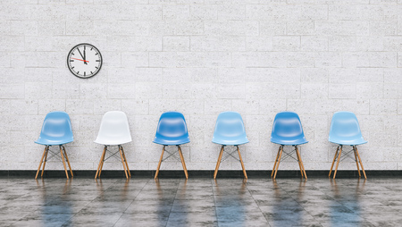 Row of blue chairs in a waiting room with wall clock, doctor and medical concept image - 3D rendering 스톡 콘텐츠