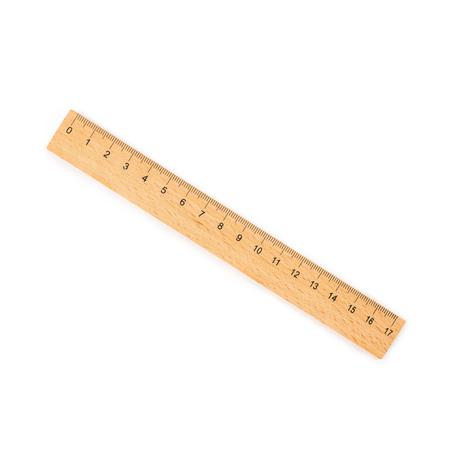drewniana linijka na białym tle Zdjęcie Seryjne