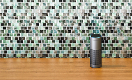 voice controlled smart speaker in the kitchen with copy space for individual text