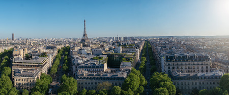 Paris skyline panorama with eiffel tower. View from Arch of Triumph 스톡 콘텐츠
