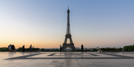 Eiffel tower seen from Trocadero square at sunrise Stock Photo