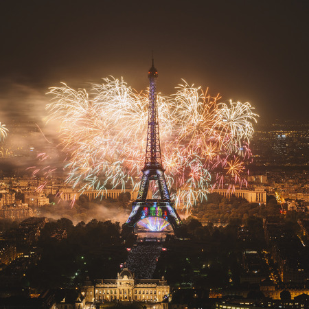 Eiffel tower with fireworks, New Year in Paris, France