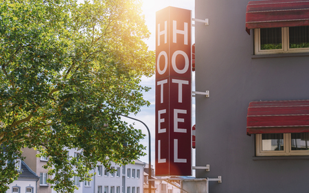 Hotel sign on a building