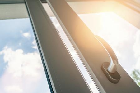 Open window. PVC plastic. 스톡 콘텐츠