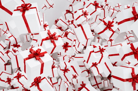 White christmas gifts or presents with red ribbon Banque d'images - 116870759