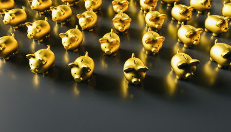 golden piggy banks as row leadership, investment and development concet image, including copy space Foto de archivo