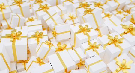 many gold gift boxes Stock Photo