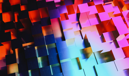 Abstract background of colorful neon light cubes, gaming, party at business concept image Stock Photo