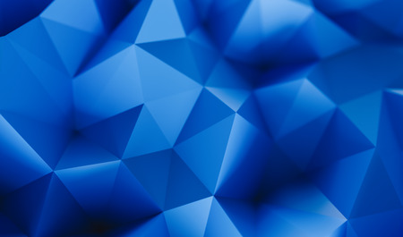Abstract low poly background of triangles in blue colors - 3D rendering - Illustration