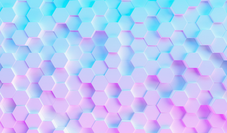 colorful bright neon uv blue and purple lights hexagonal background grid, gaming concept image Standard-Bild