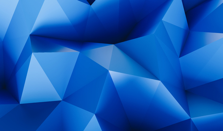 Abstract low poly blue background of triangles - 3D rendering - illustration
