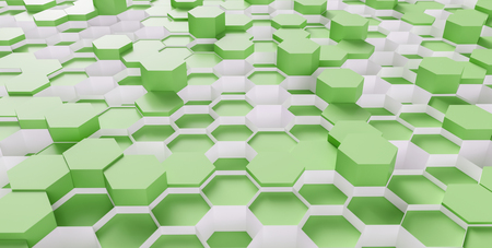 bright green hexagon honeycomb background - 3D rendering - illustration