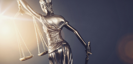 The Statue of Justice - lady justice or Iustitia  Justitia the Roman goddess of Justice - legal law concept image Stock Photo
