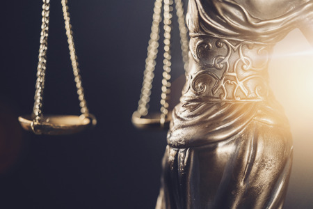 The Justice of Justice or Justitia  Justitia the Roman goddess of justice detail of scales of justice Stock Photo