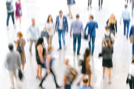 Abstract blur people in press conference event or corporate exhibition Stock Photo