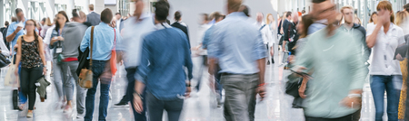 large crowd of anonymous blurred people Stock Photo