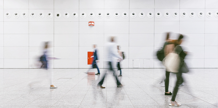 Crowd of people in a shopping center Stock Photo