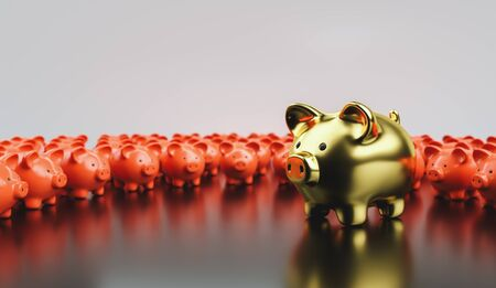 Big golden piggy bank in front of small red piggy banks, investment and development concept