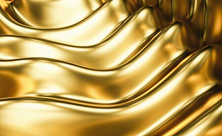 Gold luxury wave abstract background 3D rendering