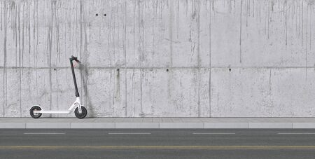 Panoramic view of Electric scooter on wall for mobility in the city Stockfoto
