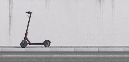 Panoramic view of e-scooter parked on sidewalk for mobility in the city