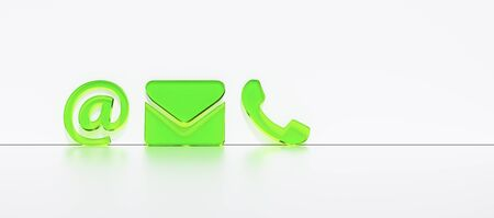 Close-up Of A Phone, Email and Post Icons Leaning On White Wall. Contact Methods, concept image