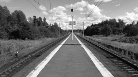 Architecture of Old City Train Station with No Passengers and No Trains. Vintage Style Image of Empty Old Platform at Vitebsky Railway Station, Main Transportation Russia