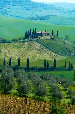 Italian villa near Pienza Italy. Stock Photo