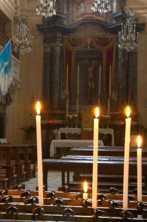 sanctified: Interior of Oratorio di San Giovanni church in Montepulciano, Tuscany, Italy. Stock Photo