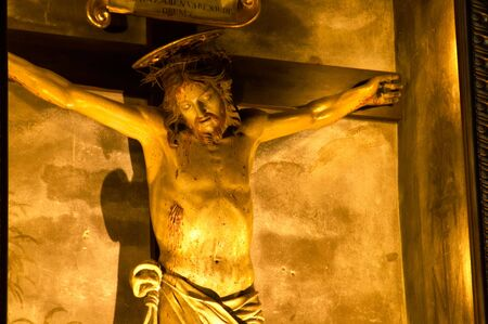 faithfulness: Statue of Christ in Italian church, in Montepulciano, Italy. Stock Photo