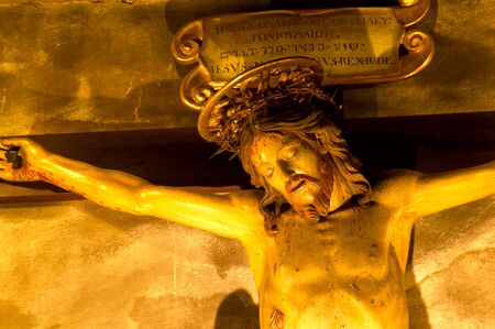 crucifiction: Statue of Christ in Italian church, in Montepulciano, Italy. Stock Photo