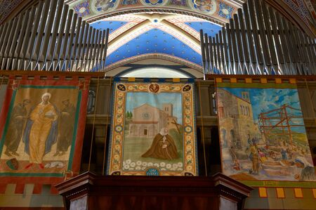 sanctified: Interior of Basilica of Santa Margherita, church, Cortona, Italy.