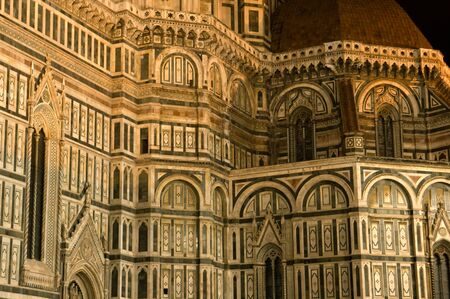The Duomo at night, main cathedral of Florence Italy.