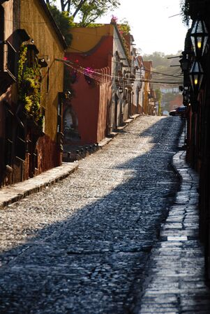 Cobblestone streets of San Miguel de Allende, Spanish colonial town in Mexico. photo