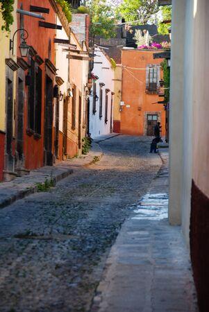 Cobblestone streets of San Miguel de Allende, Spanish colonial town in Mexico.