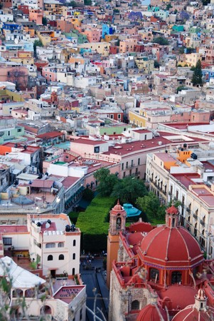 View looking down at the colorful houses of the Spanish colonial highland town of Guanajuato, Mexico. Stock Photo