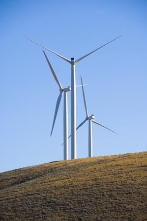 Wind turbines in the desert.