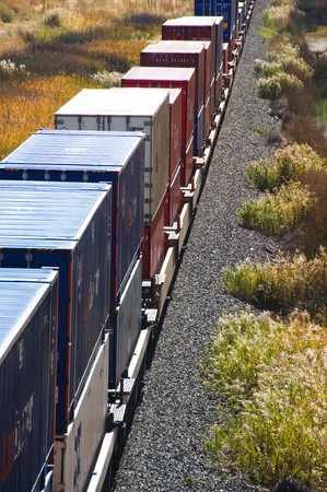 freight train: Freight train in the desert mountains.