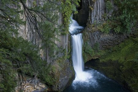 Toketee Falls, near Roseberg, Oregon. The falls comes down between columnar basalt.