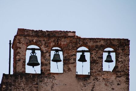 edifices: Old bell tower, Mexico Stock Photo