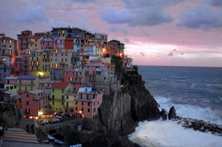 Village of Manarola, Cinque Terre, Italy, as evening comes on.